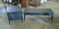 chalk painted coffee table and end table