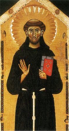 Maestro della Croce n. 434 degli Uffizi e Maestro di Santa Maria Primerana - San Francesco e otto storie della sua leggenda, dettaglio - 1250-1260 - Tempera su tavola - Pistoia, Museo Civico.
