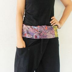 patchwork inside fold over with black  full length  Thai fisherman pants hand weave cotton,size S-XL,unisex pants,yoga,spa pants. by meatballtheory on Etsy