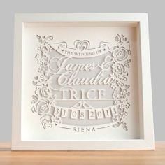 Personalised Classic Wedding Paper Cut – Framed | GWAG