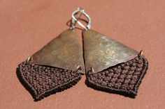 EarthBrown Fiber and Copper Macrame Earrings by mioteo on Etsy, $34.00