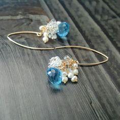Blue Topaz Quartz Earrings Gold Earrings Cluster Earrings