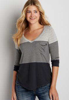 the 24/7 colorblock tee with stripes (original price, $24.00) available at #Maurices