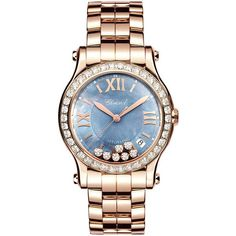 Chopard 36mm Happy Sport 18k Rose Gold Bracelet Watch with Diamonds ($37,760) ❤ liked on Polyvore featuring jewelry, watches, blue diamond watches, leather-strap watches, 18k watches, rose gold watches and watch bracelet