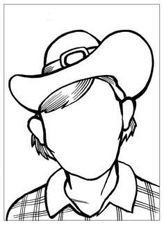 Розмальовки Дорисуй і розфарбуй ковбой дорисуй лицо ковбоя