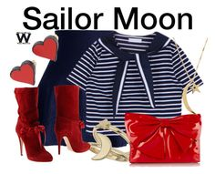 """""""Sailor Moon"""" by wearwhatyouwatch ❤ liked on Polyvore featuring Chicwish, Miss Selfridge, Casadei, Valentino, Jennifer Zeuner, MANOLO, television and wearwhatyouwatch"""