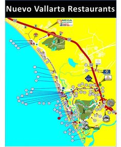 Map of Nuevo Vallarta, Mexico: Restaurants. This location is in Riviera Nayarit, 15 minutes north of Puerto Vallarta, Mexico. Pinned from The Ultimate PV Travel Guide: visit-vallarta.com