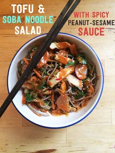How To Make Tofu And Soba Noodle Salad With Spicy Peanut Sauce. I'd make with chicken instead of tofu