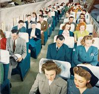 "hepkitty: "" Boeing Stratocruiser Main Cabin "" Living in a Boeing town is pretty cool. When I was a kid my brother had old Boeing plane seats as chairs in his room. Retro Airline, Airline Travel, Air Travel, Vintage Airline, 50s Vintage, Airplane Interior, Jets, Public Enemies, Aircraft Interiors"