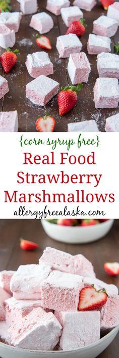 Real Food Strawberry Marshmallows (Corn Syrup-Free) Dessert For Two, Summer Dessert Recipes, Recipes With Marshmallows, Homemade Marshmallows, Strawberry Marshmallow Recipe, Marshmallow Recipes, Sugar Free Kids Snacks, Vegan Rice Krispie Treats, Healthy Sweet Treats