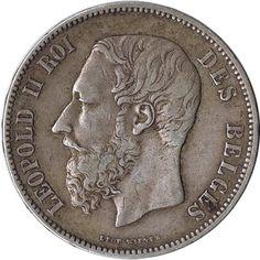 Moneda de plata 5 Francos Belgica 1873 Leopoldo II., Tienda Numismatica y Filatelia Lopez, compra venta de monedas oro y plata, sellos españa, accesorios Leuchtturm