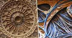 Vector illustrations become hundreds of laser cut papers stacked to make beautiful mandalas and designs. By artist Eric Standley.