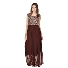 Embroidered Sleeveless Round Neck long one piece type latest design pary wear Georgette Gown -- Click image for more details. (This is an affiliate link) Latest Fashion For Women, Jewel, Image Link, One Piece, Gowns, Type, Formal Dresses, How To Wear, Design