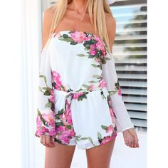 Wholesale Sexy Style Strapless Floral Print Chiffon Long Sleeve Women's Jumpsuits Only $7.62 Drop Shipping | TrendsGal.com