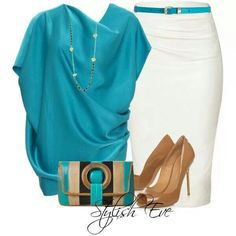 Paige - like the shoes Work outfit Komplette Outfits, Classy Outfits, Summer Outfits, Casual Outfits, Fashion Outfits, Womens Fashion, Fashion Tips, Fashion Trends, Teal Outfits