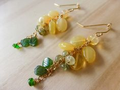 Green Yellow Earring Opal Earrings Gold Filled Colorful Gemstone Earrings Wire Wrapped Dangle Earrings Opal Cascade Earring #StudioVK #Etsy #StatementEarrings #CascadeEarring #GoldFilled #WireWrapped #OpalEarrings #GreenEarring #OpalJewelry #DangleEarrings #ColorfulGemstone #GreenYellowEarring #GemstoneEarrings #LongEarring #EmeraldGreen