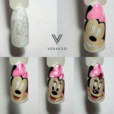 Cartoon Nail Designs, Animal Nail Designs, Diy Nail Designs, Shellac Nail Art, Diy Nails, Cute Nails, Pretty Nails, Minnie Mouse Nails, Mickey Mouse Nails