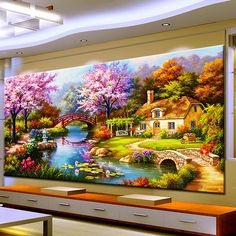 Cheap painting cross stitch, Buy Quality diamond painting cross stitch directly from China diamond painting Suppliers: Needle Arts Crafts Diy Diamond Painting Cross Stitch Dream Home Diamond Embroidery Cabin Scenery Rubik's Cube Drill Picture Cottage Art, Garden Cottage, 5d Diamond Painting, Cross Paintings, Beautiful Paintings, Landscape Paintings, Landscape Pictures, Scenery, Cross Stitch