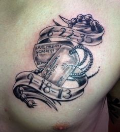 Memorial tattoo dog tags black and grey work done by Aj at wicked ways tattoos and clothing co. San Antonio tx