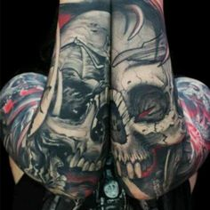 Double, Double, Toil and Trouble amazing piece by Javier Obregon. This tattoo was so well designed that it needed two arms to bring it to life. #InkedMagazine #skull #tattoo #tattoos #Inked #Ink #art