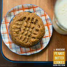 4-Ingredient Peanut Butter Cookies Recipe Desserts with chunky peanut butter, garbanzo bean flour, coconut sugar, bananas, cinnamon, chocolate chips Vegan Treats, Vegan Desserts, Delicious Desserts, Chunky Peanut Butter, Vegan Peanut Butter, Almond Butter, Healthy Protein Snacks, Healthy Sweets, Healthy Deserts