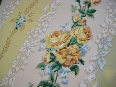 Vintage Wallpaper Yellow Roses Blue Floral by PatinaPaperie, Cool Galaxy Wallpapers, Galaxy Wallpaper Iphone, Wallpaper Iphone Quotes Backgrounds, Retro Wallpaper, Trendy Wallpaper, Fabric Wallpaper, Create Wedding Invitations, Vintage Floral Wallpapers, Christmas Wallpaper