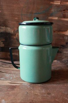 Vintage 40's enamel Coffee Pot in sea foam green by tiptoecurio, $42.00