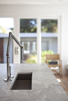 narrow prep sink allows for food prep in front, as well as to the sides. Remodelista, Medium Plenty, Oakland kitchen, Karbon faucet from Kohler Coffee Bars In Kitchen, Eat In Kitchen, Kitchen Units, Kitchen Things, Kitchen Ideas, Kitchen Design, Kitchen Appliances, Kohler Faucet, Kitchen Sink Faucets