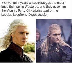 Game of Thrones season 7 funny humour Meme @Thrones_Memes. Rhaegar Targaryen, Legolas