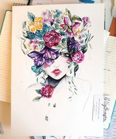 Artículos similares a Flower Fro II // Limited Edition giclée print from an original watercolour by Holly Sharpe en Etsy Watercolor Girl, Watercolor Illustration, Watercolor Paintings, Original Paintings, Flower Collage, Flower Art, Art Journal Inspiration, Art Inspo, Mother Earth Drawing
