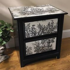 More decoupage ideas. I am really into the black and white and all things toile print!