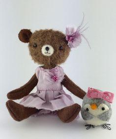 Miniature Teddy Bear dress up set  Mohair Teddy Bear by Plushimoto