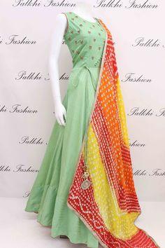 Elegant Pista Soft Silk Outfit With Pure Bandhani Dupatta Hi Fashion, Indian Fashion, Fashion Dresses, Indian Designer Outfits, Designer Dresses, Indian Dresses, Indian Outfits, Frocks For Girls, Kurti Designs Party Wear