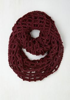 I'm Waffly Glad You Came Circle Scarf in Burgundy - Red, Casual, Fall, Winter, Better, Knit, Variation