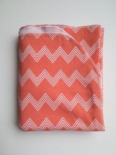 coral chevron baby blanket