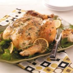 """""""Garlic and herbs roasting in and on the bird make this roasted chicken so flavorful you can even eliminate the salt from the recipe if you like,"""" notes Cindy Steffen from Cedarburg, Wisconsin. """"The aroma from the oven while it's baking is tantalizing. Yeast Free Diet, Yeast Free Recipes, Herb Roasted Chicken, Roast Chicken Recipes, Chicken Meals, Recipe Chicken, Healthy Chicken, Anti Candida Recipes, Clean Eating"""