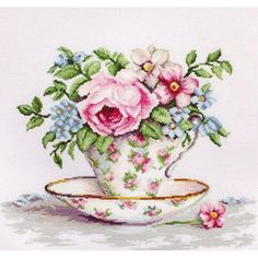 Cross Stitch Kit Flowers and tea cup DIY Cross stitch Set Hand Embroidery Handmade gift Wall Decor Home decor Idea Gift – Handstickerei Cross Stitch Rose, Modern Cross Stitch, Cross Stitch Flowers, Cross Stitch Designs, Cross Stitch Patterns, Learn Embroidery, Vintage Embroidery, Cross Stitch Embroidery, Embroidery Patterns