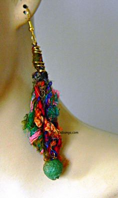 Fiber and paper bead drop earring by DABANGAjewelry on Etsy, $30.00