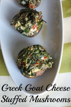 Greek Goat Cheese Stuffed Mushrooms (Paleo, Vegetarian, Dairy-Free Option)