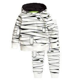 Capuchonsweater en sweatpants | Wit/zwart | Kinderen | H&M NL