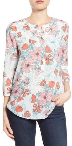 NYDJ Henley Blouse (Regular & Petite) available at Dress Neck Designs, Petite Size, Diy Clothes, Dress Patterns, Sleeve Styles, Fit Women, Colorful Shirts, Ideias Fashion, Fashion Dresses