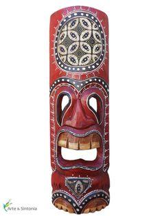 Máscara Hawaiana em madeira p/ decoração
