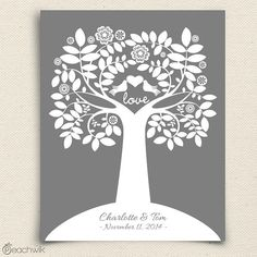 Wedding Guest Book Alternative - The Charmwik Tree - A Peachwik Interactive Art Print - 75 guest sign in - Love bird Guest book