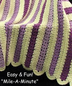 Crochet Afghans Patterns Easy Mile a Minute Crochet Instructions - Blanket patter my grandma taught me to crochet on! :D Still have my blanket! Crochet Afghans, Free Crochet, Crochet Baby, Crochet Blankets, Baby Afghans, Crochet Stitch, Baby Blankets, Crochet Crafts, Crochet Projects