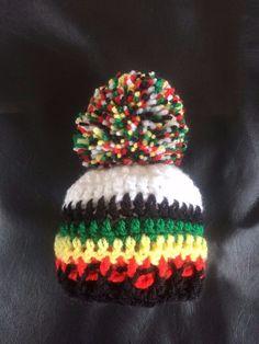 f3513dc5c6743c Hand Crochet White Baby Rasta Hat Bobble Pom Pom Africa Jamaica Reggae 3-6  mths