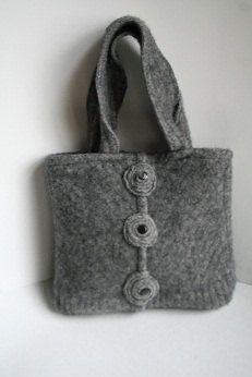 Classic Grey Felted Wool Purse from by OneOfAKindPursesByMJ, $30.00