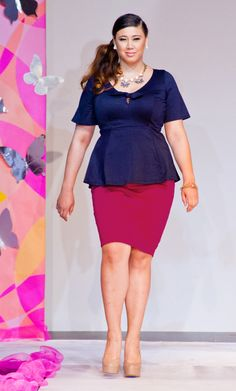 Pair our pink plus size Curvy Pencil Skirt with a classic peplum top, like our Passport Peplum Top for a sweet retro-vibe.  As seen at this year's Full Figured Fashion Week.  www.kiyonna.com  #KiyonnaPlusYou  #MadeintheUSA  #Kiyonna  #FFFW