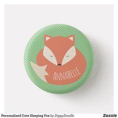 Personalised Cute Sleeping Fox Pinback Button