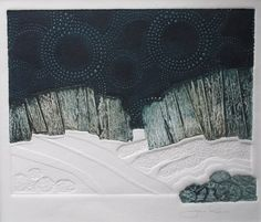 """""""Starry Starry Night """" from the Eastern Arctic series by Jenn Robbins. embossing and collograph 8 x 10 inches. Linocut Prints, Art Prints, Collagraph, Black And White Drawing, Conceptual Art, Types Of Art, Art Techniques, Cool Artwork, Art And Architecture"""