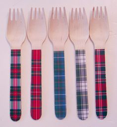 Tartan Plaid Wooden Forks or Spoons  Set of 20 by WhenIWasYourAge, $10.00